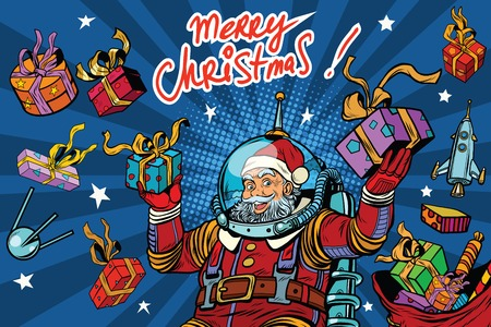 zero gravity: Space Santa Claus in zero gravity with Christmas gifts, pop art retro vector illustration. Greeting the inscription Merry Christmas