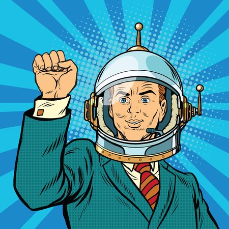 boycott: businessman astronaut hand in a gesture of unity, pop art retro vector illustration