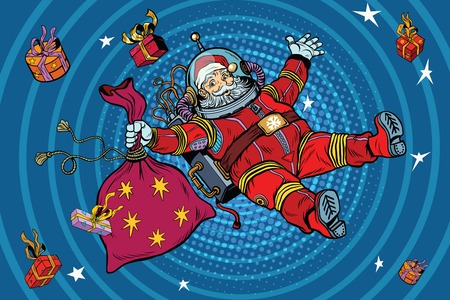 zero gravity: Space Santa Claus in zero gravity with Christmas gifts, pop art retro vector illustration. Blue cartoon circles background radiation