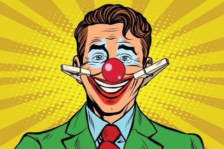 hombre rojo: Cara del payaso de la sonrisa con pinzas de la ropa, la ilustración del arte pop retro del vector Vectores