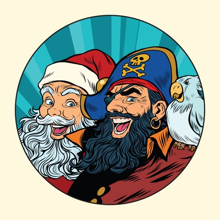 costume eye patch: Santa and the pirate, pop art retro vector illustration Illustration