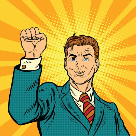 Businessman with fist, pop art protest, retro vector illustration. A symbol of unity