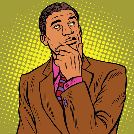 The thinker pose black businessman, an African American, or Hispanic pop art retro vector