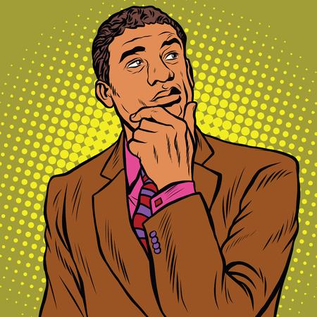 The thinker pose black businessman, an African American, or Hispanic pop art retro vector