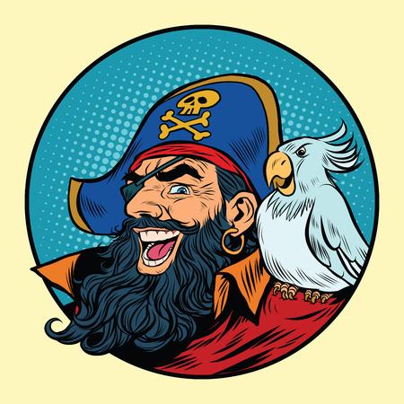 ポップアートのレトロなベクトル図を彼の肩にオウムを持って幸せな海賊