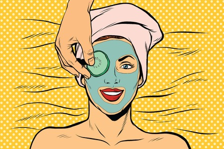 Cucumber mask on woman face, skin beauty, pop art retro vector illustration