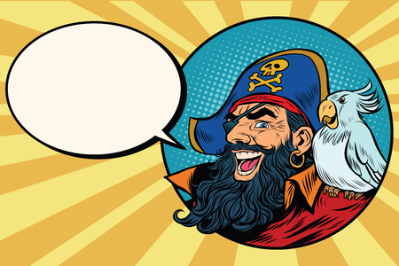 costume eye patch: happy pirate with a parrot, pop art comic bubble, retro vector illustration Illustration