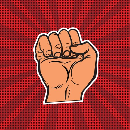 boycott: Pop art retro fist, vector illustration. Strength and power
