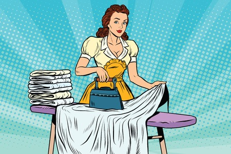 The hotel maid iron irons linen, pop art retro vector illustration. Hotel service and cleaning Illustration
