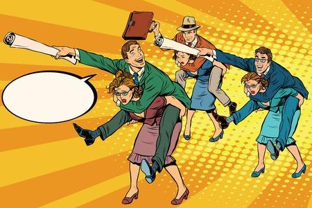 Gli uomini d'affari battaglia ufficio, uomini a cavallo delle donne, pop art illustrazione retrò vettoriale. Disparità di genere