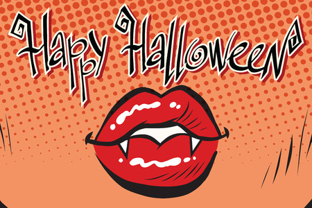 open type font: Happy Halloween mouth female vampire, pop art retro vector illustration