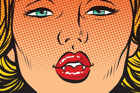 Vampire girl lip kiss, pop art retro vector illustration. Sharp fangs