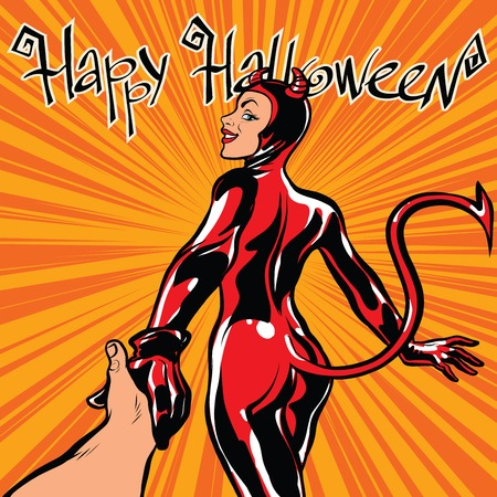 succubus: Happy Halloween devil girl follow me, pop art retro vector illustration. Carnival and celebration