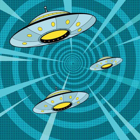 ataque UFO del espacio, ilustración vectorial de arte retro pop. Las naves extraterrestres vuelan rápidamente Ilustración de vector