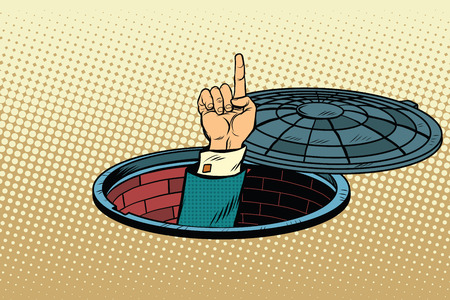 Index finger from manhole, pop art retro vector illustration