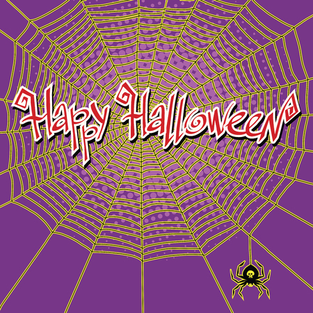 Happy Halloween spiderweb and spider, pop art retro vector illustration