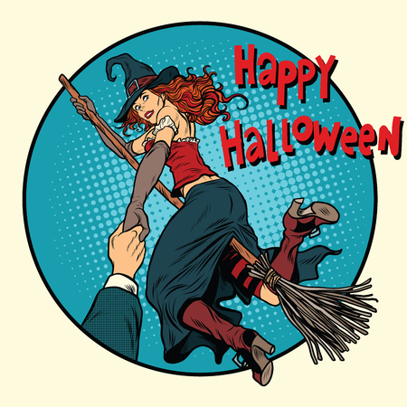 Happy Halloween witch on a broomstick follow me, pop art retro vector illustration. Woman in holiday costume Illustration