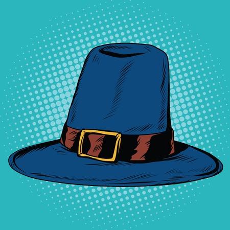 religious clothing: Vintage hat pilgrim, pop art retro vector illustration. Traditional religious clothing