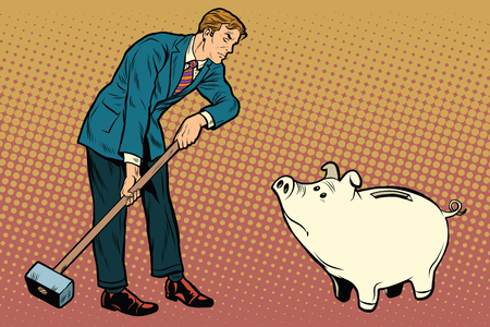 Retro businessman wants to break the cute pig piggy Bank, pop art retro vector illustration