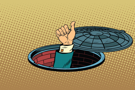 sewerage: Hand gesture is all right, pop art retro vector illustration, a manhole