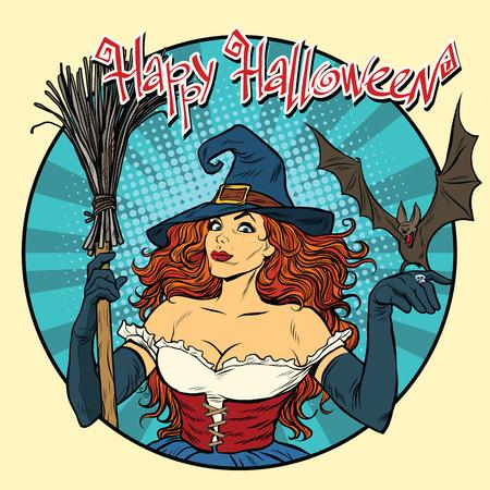 Happy Halloween beautiful witch and bat, pop art retro vector illustration