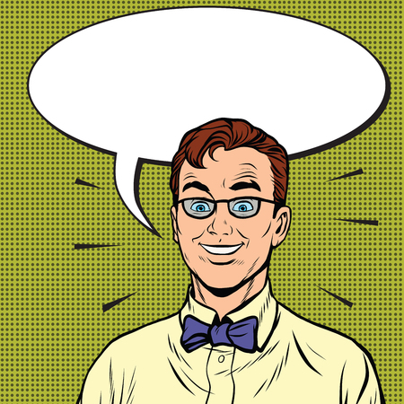 business shirts: Smiling hipster with a bow tie, pop art retro vector illustration. The man says the cartoon bubble