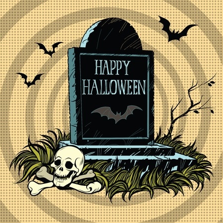 cemetery: Happy Halloween grave tombstone cemetery skull and bones, pop art retro vector illustration. Night and bats Illustration