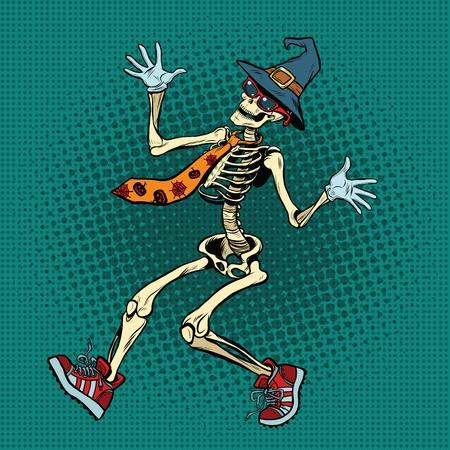 Lustiges Halloween-Skelett in einem modischen Krawatte und Schuhe, Pop-Art Retro-Vektor-Illustration. Piratenflagge