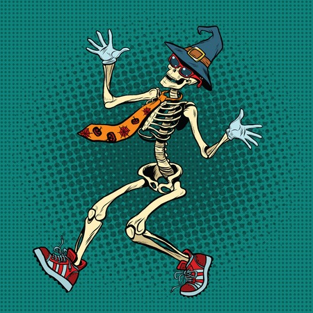 Funny Halloween skeleton in a fashionable tie and shoes, pop art retro vector illustration. Jolly Roger