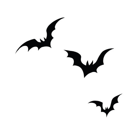 vector art: Black silhouettes of bats on a white background, pop art retro vector illustration