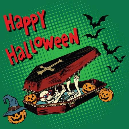 Happy Halloween holiday, coffin skeleton evil pumpkin. pop art retro vector illustration. Silhouettes of bats