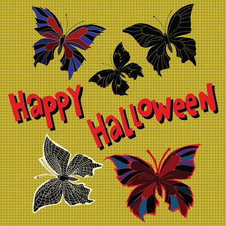 entomology: Happy Halloween set night butterflies dead, pop art retro vector illustration