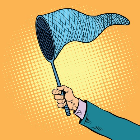 snood: Hand with a butterfly net, pop art retro vector illustration. A tool for catching fish and insects