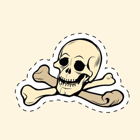 sceleton: Skull and bones Jolly Roger label sticker, pop art retro vector illustration