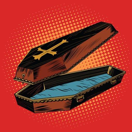 キリスト教の十字、ポップアートのレトロなベクトル図の木棺。棺の蓋が開いています。
