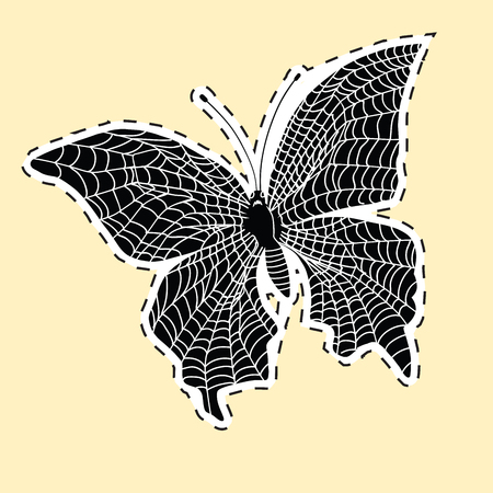 Dark butterfly web label sticker. pop art retro vector illustration. The horror and nightmare. Symbol of the Internet
