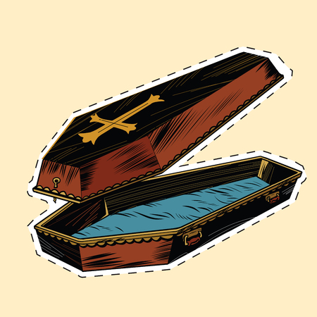 wooden coffin with Christian cross label sticker, pop art retro vector illustration. The coffin lid is open