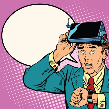 Too much time in virtual reality, pop art retro vector illustration. The man took off virtual reality glasses to look at watch Illustration