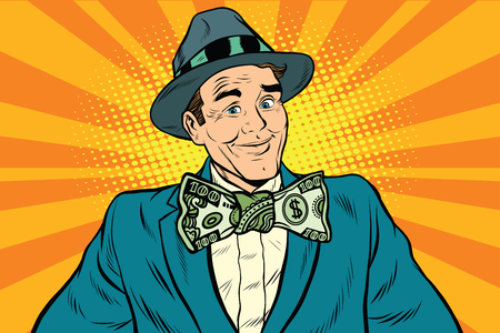 Male businessman in a bow tie dollar money, pop art retro vector illustration Иллюстрация