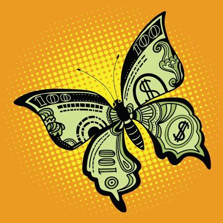 billete de un dólar mariposa, ilustración vectorial de arte retro pop. Dinero y Finanzas