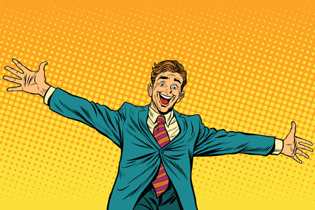 widely: Meeting other happy people, pop art retro vector illustration. Businessman widely placed arms for a hug