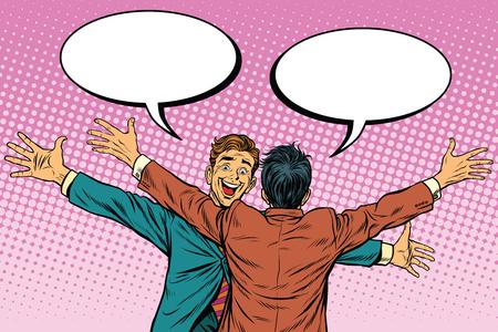 Les deux hommes câlins heureux, l'amitié, l'art pop rétro illustration vectorielle. Les émotions humaines Banque d'images - 63398047