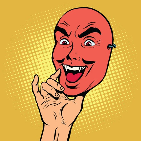 Angry face mask of a man, pop art retro vector illustration. Red devil