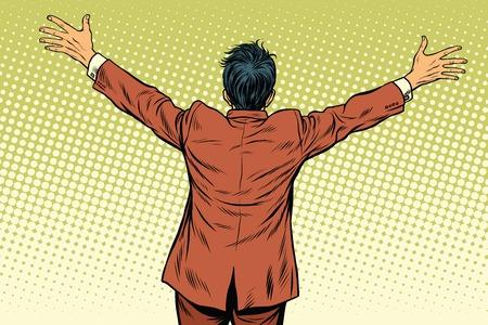 acquaintance: Retro man worth spread wide his arms, back, pop art retro vector illustration Illustration