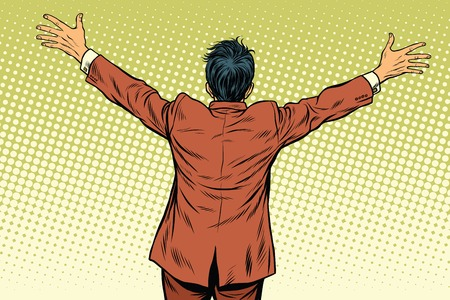 Retro man worth spread wide his arms, back, pop art retro vector illustration Illustration
