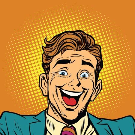 persona feliz: cara feliz súper persona alegre, ilustración del arte pop retro del vector. las emociones humanas Vectores