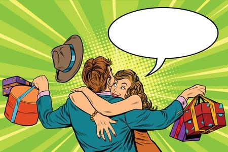 paar man en vrouw, de vreugde van geschenken, pop art retro vector illustratie