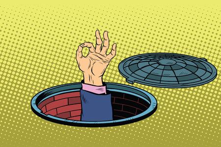 Mensen in de riolen OK gebaar, pop art retro vector illustratie