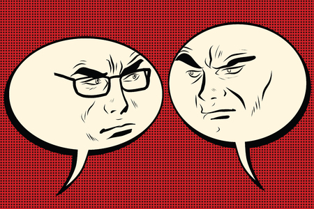 two men talking: Two angry men talking. Comic bubble smiley face, pop art retro vector illustration. Human emotions Illustration