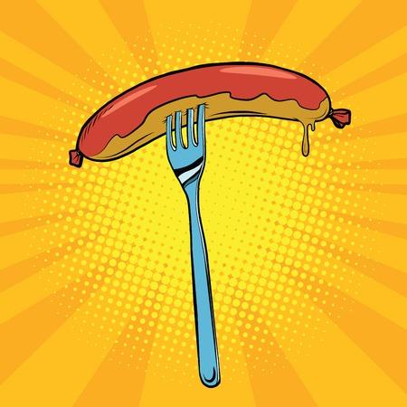 broil: Grilled sausage on a fork, pop art retro vector illustration